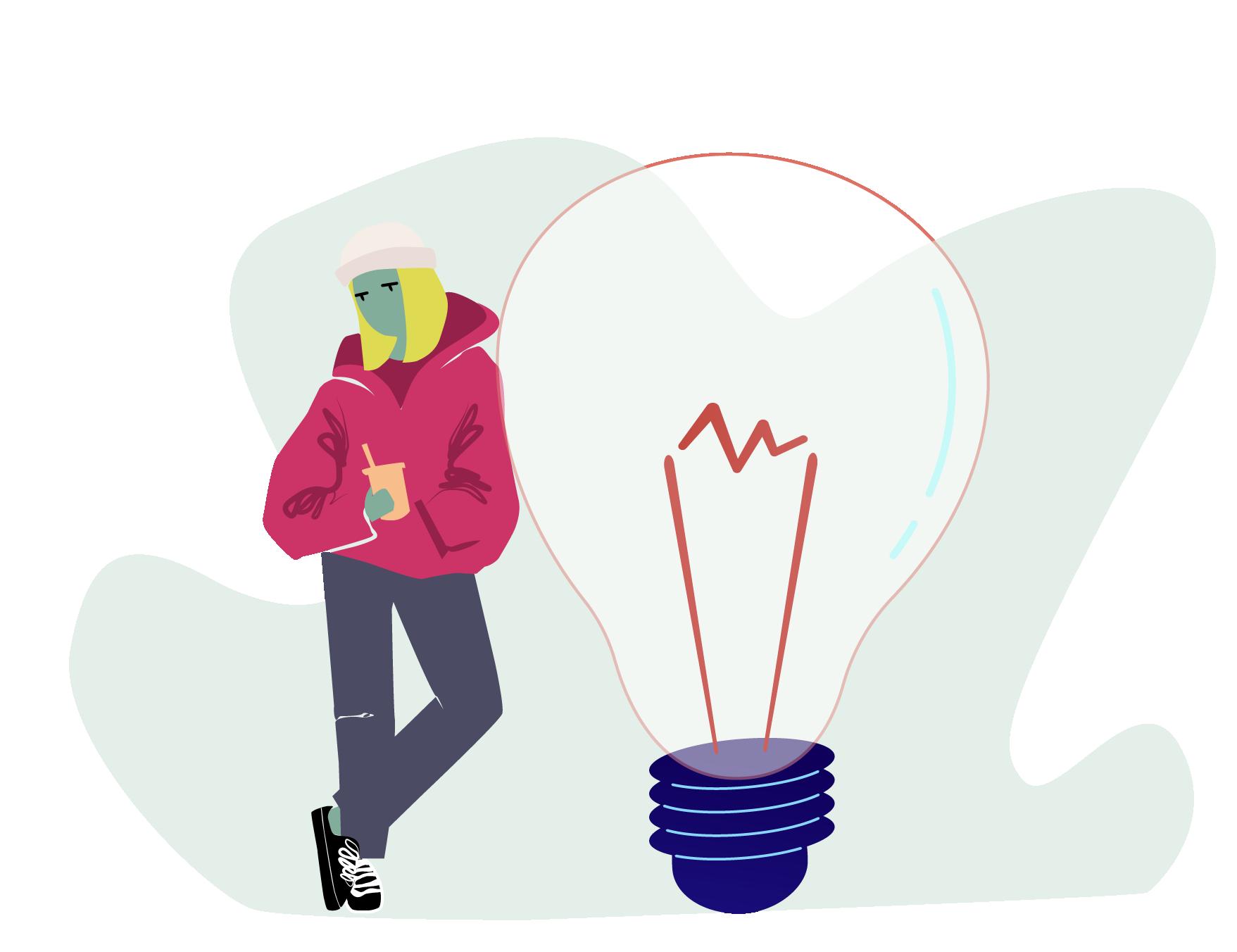illustration vectorielle d'une adolescente en quête d'idées