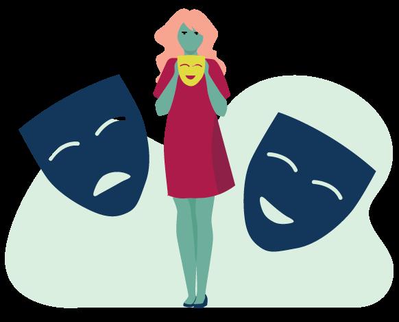 dessin vectoriel d'une fille tenant des masques